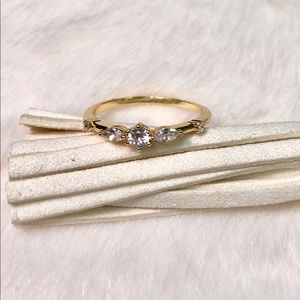 NEW 14k Gold Plated Ring With Simulated Diamonds